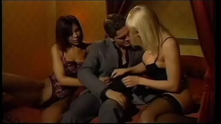 Businessman and his cooperation partner invited blonde beauty with big melons Axen and sunburt cutie Angela Dorada to celebrate sweet deal taking those hotties to brown town 18 min